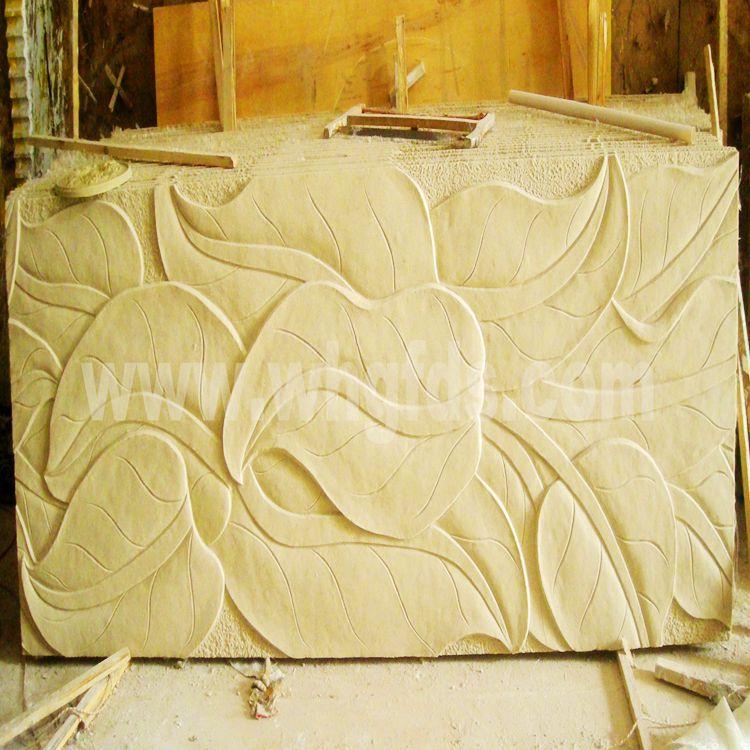 人造艺术砂岩芭蕉叶艺术背景墙