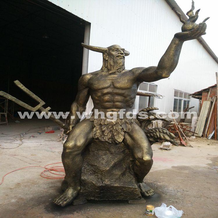 古代人物锻铜雕塑